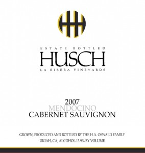 Husch 2007 Cabernet Sauvignon
